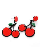 Cherry Earrings Rockabilly Drop Earrings Red Retro Fruit Jewelry