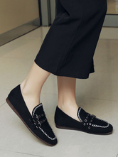 Black Women Loafers Suede Square Toe Buckle Detail Slip On Shoes Casual Shoes