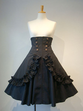 Gótico Lolita SK folho botão plissado Lace Up Black Lolita Saia