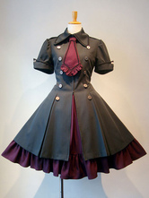 Gothic Lolita Dress OP Ruffle Bowtie Button Lace Up Burgundy Lolita One Piece Dress