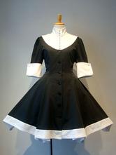 Gothic Lolita OP Dress Bow Button Two Tone Pleated Black Lolita One Piece Dress
