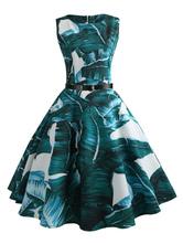 Green Vintage Dress Tropical Print Midi Dress Belt Sleeveless Retro Dress