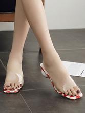 Pink Slide Sandals Women Open Toe Lip Printed Cylindrical Heels Sandal Shoes okQn0FMdR