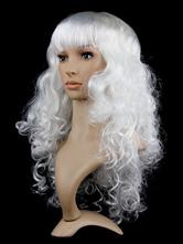 Halloween Hair Wigs White Long Curly Carnival Hair Wigs Women Synthetic Wigs