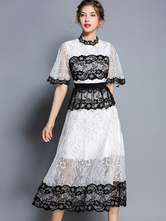 White Lace Dress Half Sleeve Stand Collar Two Tone Summer Dress