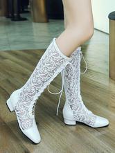 Botas amplias de mujer con cordones Botas con cordones de tacón grueso con punta cuadrada