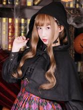 Classic Lolita Cloak Bow Pleated Wool Hooded Black Lolita Poncho