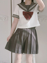Sailor Style Lolita Outfit Bow Stripe Color Block Cotton Lolita Top With Pleated Skirt