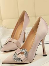 Satin Abendschuhe Cameo Rosa Strass Slip On Party Schuhe Frauen High Heels