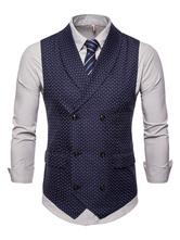 Men Suit Vest 1950s Double Breasted Shawl Lapel Print Plus Size Navy Blue Waistcoat