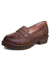 Brown Women Loafers Round Toe Slip On Penny Loafers Casual Shoes