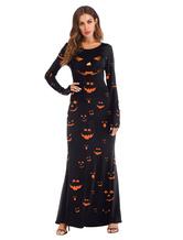 Halloween Kostüm Kostüm Kürbis Kleid Frauen Schwarz Langarm Cosplay Kostüme Faschingskostüme