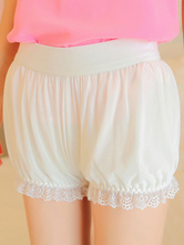 Sweet Lolita Shorts Lace Trim Pleated White Lolita Bottom