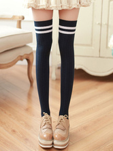 Sweet Lolita Stocking Two Tone Stripe Cotton Knee High Socks