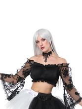Traje de Halloween Mulheres Gothic Black Lace Bell Sleeve Top Colheita