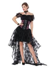 Gothic Costume Halloween Black Women Asymmetrical Skirt And Corset