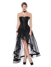 Готический костюм Хэллоуин Черный труп Свадебные женщины без бретелек Асимметричная юбка и корсет