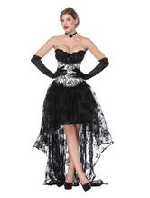 Gothic Costume Halloween Corpse Nupcial Saia Assimétrica E Espartilho