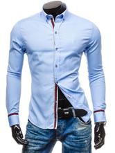 Long Sleeve Shirt Stripe Turndown Collar Slim Fit Men Casual Shirt