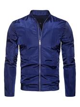Men Utility Jacket Navy Blue Windbreaker Zip Up Stand Collar Long Sleeve Short Jacket