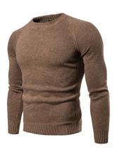 Men Knit Sweater Crewneck Long Sleeve Slim Fit Light Tan Pullover Sweater