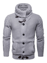 Men Cardigan Jacket Horn Bouton Turndown Collar Manches Longues