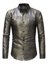 Men Formal Shirt Jacquard Patterned Long Sleeve Dress Shirt