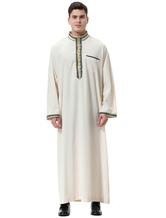 Arabische Männer Robe Stehkragen Applique Frill Langarm Ecru Weiß Arabische Abaya