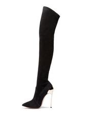Черные сапоги для колен Женские стрейч-сапоги с острыми носками Высокие каблуки