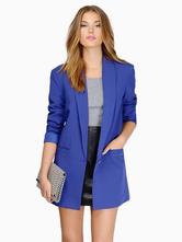 Long Blazer Jacket Buttons Pockets Casual Blazer For Women