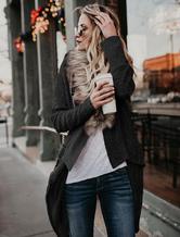 Manteau d'hiver à manches longues et ourlet irrégulier pour femmes