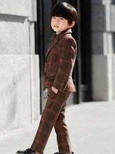 Ring Bearer Outfit Wedding Tuxedo Boys Suits Plaid Kids Formal Wear 5 Piece