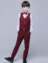 Ring Bearer Outfit Hochzeit Smoking Jungen Anzüge Burgunder Kinder Formelle Kleidung 5 Stück