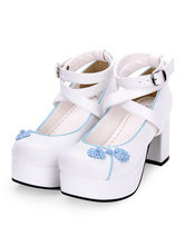 Chinese Style Lolita Shoes Embroidery Strappy Chunky High Heel Lolita Pumps