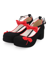 Chinese Style Lolita Footwear Embroidery Bow Two Tone Ankle Strap Terry Chunky High Heel Lolita Shoes