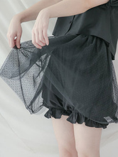 Classic Lolita Bloomer Tulle Polka Dot Cotton Black Lolita Shorts