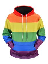 Long Sleeve Hoodie Color Block Rainbow Hooded Men Casual Pullover Sweatshirt
