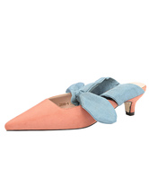 Pink Mule Shoes Women Suede Pointed Toe Bow Backless Kitten Heel Pumps