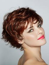 Perucas de cabelo mulheres mogno despenteado perucas de cabelo curto encaracolado