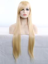 Pelucas de pelo de Halloween pelucas sintéticas rectas largas rubias con flequillo