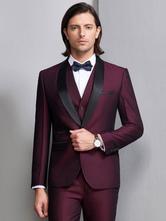 Abiti da sposa smoking sposo e groomsman suit scialle bordeaux giacchetta giacca pantaloni gilet outfit uomo abbigliamento formale 3 pezzi