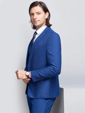 d6d7c1e1cd Trajes de boda Tuxedo novio azul y traje de padrino Pico Chaqueta Laple  pantalones chaleco traje