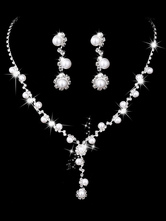 Pearls Wedding Jewelry Set Silver Rhinestones Bridal Vintage Necklace And Earrings