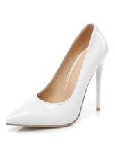 Milanoo / Women High Heels White Pointed Toe Stiletto Heel Slip On Pumps Dress Shoes