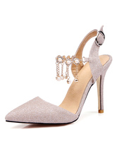Glitter Prom Shoes Slingback Party Shoes Pointed Toe High Heels
