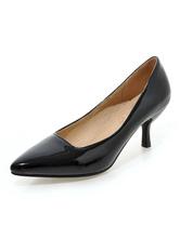 Milanoo / Black Kitten Heel Pumps Pointed Toe Stiletto Low Heel Pumps for Women