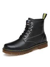 Black Martin Boots Cowhide Round Toe Lace Up Ankle Boots For Men