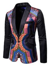 Blazer per uomo Giacca con collo sciallato nero con stampa scialle con stampa etnica