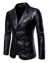 Chaqueta de cuero de PU de dos botones chaqueta casual de cuello de muesca de hombre