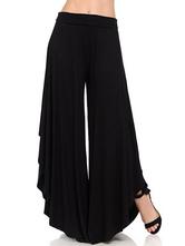 Breites Bein keucht hohen taillierten unregelmäßigen Rand-beiläufigen Hosen für Frauen